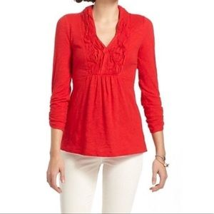 Anthropologie Deletta red henley roll sleeve top